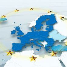 map, Western Europe, European Union, political, physical, EU Stars